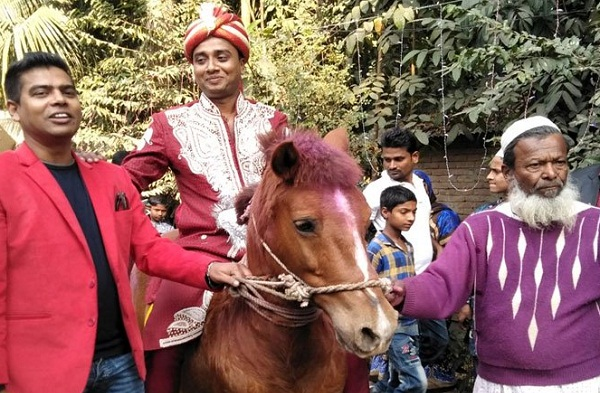 police officer going to marry by riding a horse