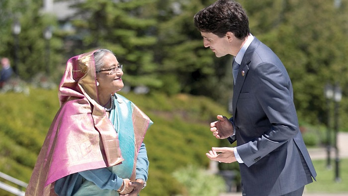 Trudeau greets Bangladesh's PM Sheikh Hasina G7 Summit in the Charlevoix town of La Malbaie, Quebec